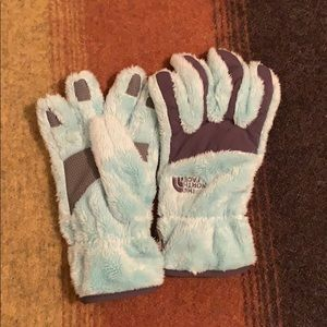 The North Face fuzzy winter gloves
